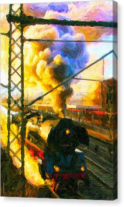 Canvas Print featuring the digital art Leaving The Station by Chuck Mountain