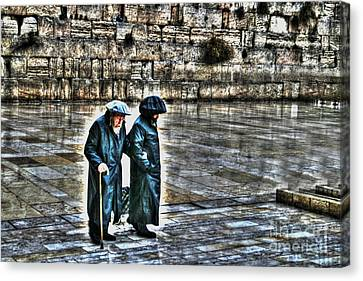 Canvas Print featuring the photograph Leaving The Western Wall In Israel by Doc Braham