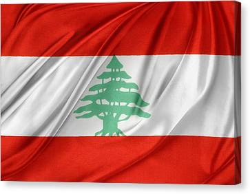 Lebanese Flag Canvas Print by Les Cunliffe