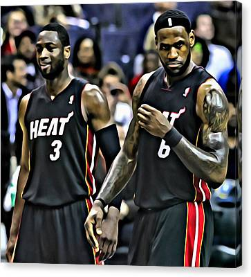 Lebron James And Dwyane Wade Canvas Print by Florian Rodarte