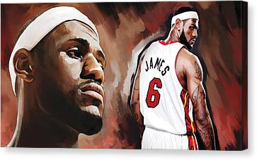 Lebron Canvas Print - Lebron James Artwork 2 by Sheraz A