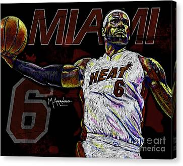 Player Canvas Print - Lebron James by Maria Arango