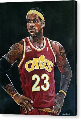 Lebron James Returns To The Cleveland Cavaliers Canvas Print by Michael  Pattison