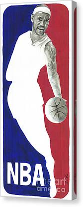 Lebron Nba Logo Canvas Print by Tamir Barkan