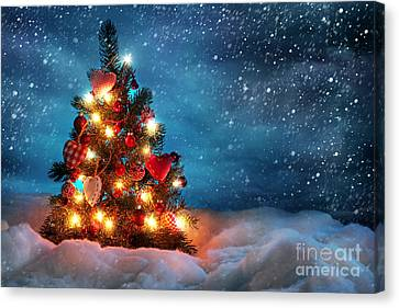 Led Christmas Lights Canvas Print by Boon Mee