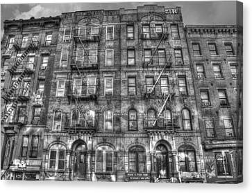 East Village Canvas Print - Led Zeppelin Physical Graffiti Building In Black And White by Randy Aveille