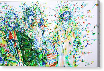 Led Zeppelin - Watercolor Portrait.2 Canvas Print by Fabrizio Cassetta