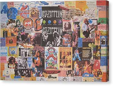 Jimmy Page Canvas Print - Led Zeppelin Years Collage by Donna Wilson