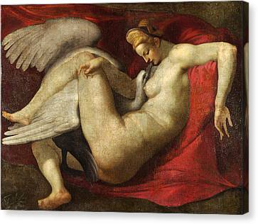 Leda And The Swan Canvas Print by After Michelangelo