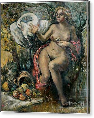 Leda And The Swan Canvas Print by Danilo