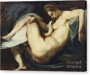Leda And The Swan Canvas Print by Rubens