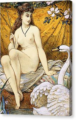 Leda And The Swan Canvas Print by William Stephen Coleman