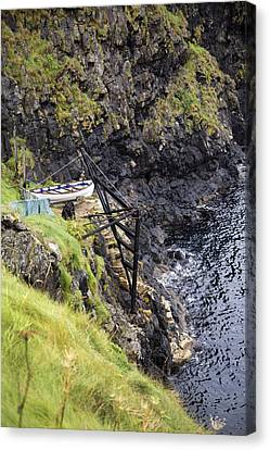 Mystical Landscape Canvas Print - Ledge Boat Carrick-a-rede Northern Ireland by Betsy Knapp