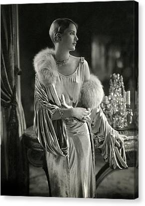 Lee Miller Wearing An Evening Gown Canvas Print by Edward Steichen