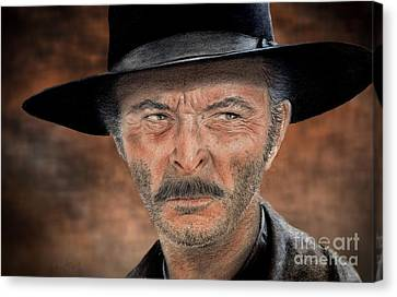 Stormy Canvas Print - Lee Van Cleef As Angel Eyes In The Good The Bad And The Ugly Version II by Jim Fitzpatrick