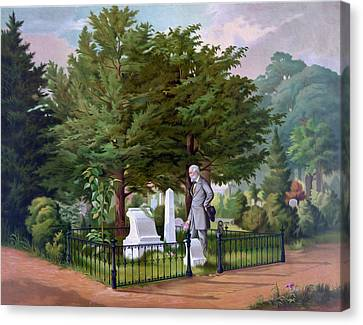 Lee's Final Visit To Stonewall Jackson  Canvas Print