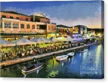 Lefkada Town During Dusk Time Canvas Print by George Atsametakis