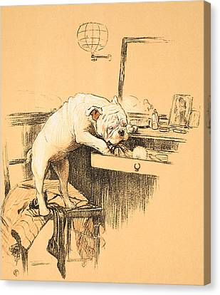 Dog Canvas Print - Left Alone In Her Dressing Room by Cecil Charles Windsor Aldin