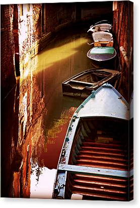 Canvas Print featuring the photograph Legata Nel Canale by Micki Findlay