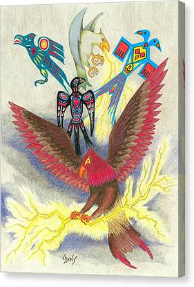 Legend Of The Thunderbird Canvas Print by Lew Davis