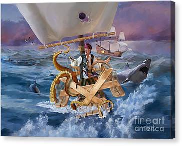 Canvas Print featuring the painting Legendary Pirate by Rob Corsetti