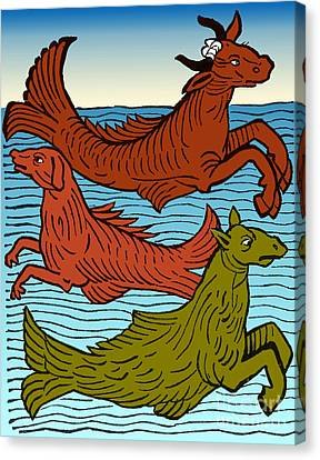 Folkloric Canvas Print - Legendary Sea Creatures, 15th Century by Science Source