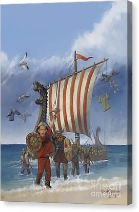 Canvas Print featuring the painting Legendary Viking by Rob Corsetti