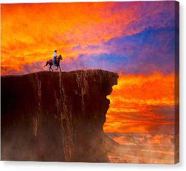 Legends Of The Wild West Sunset Canvas Print by Mark E Tisdale