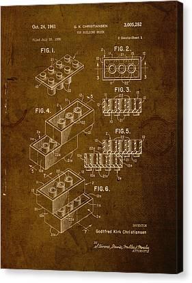 Lego Brick Vintage Patent On Worn Canvas Canvas Print