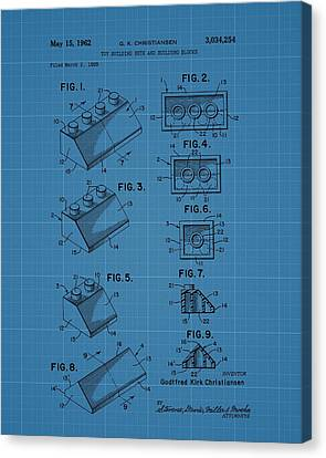 Lego Building Blocks Blueprint Patent Canvas Print