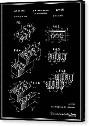 Lego Building Brick Patent - Black Canvas Print by Finlay McNevin