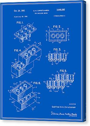 Lego Building Brick Patent - Blueprint Canvas Print by Finlay McNevin
