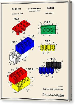 Lego Building Brick Patent - Colour Canvas Print by Finlay McNevin
