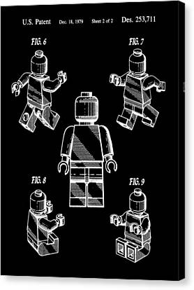 Lego Figure Patent 1979 - Black Canvas Print by Stephen Younts
