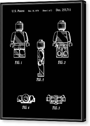Lego Man Patent - Black - Version Two Canvas Print by Finlay McNevin