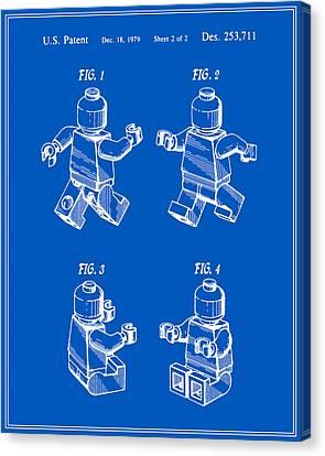 Lego Man Patent - Blueprint - Version Three Canvas Print by Finlay McNevin