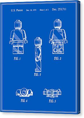 Lego Man Patent - Blueprint - Version Two Canvas Print by Finlay McNevin