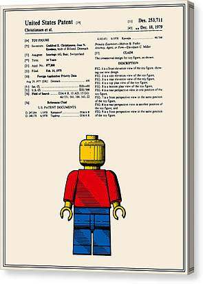 Lego Man Patent - Colour - Version One Canvas Print by Finlay McNevin
