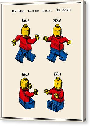 Lego Man Patent - Colour - Version Three Canvas Print by Finlay McNevin