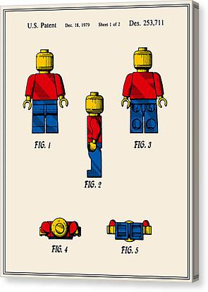 Lego Man Patent - Colour - Version Two Canvas Print by Finlay McNevin