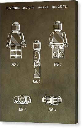 Lego Man Patent Canvas Print by Dan Sproul
