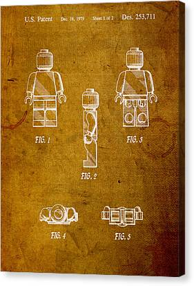 Lego Minifig Patent On Worn Canvas Canvas Print by Design Turnpike