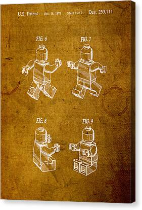 Lego Minifig Vintage Patent 2 On Worn Canvas Canvas Print by Design Turnpike