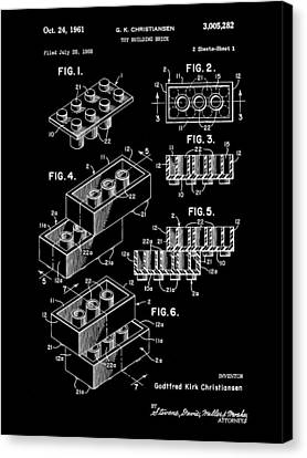Lego Patent 1958 - Black Canvas Print by Stephen Younts