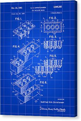 Lego Patent 1958 - Blue Canvas Print by Stephen Younts