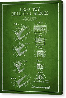 Lego Toy Building Blocks Patent - Green Canvas Print by Aged Pixel