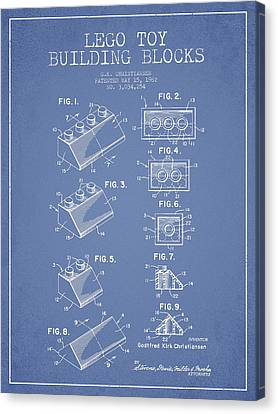 Lego Toy Building Blocks Patent - Light Blue Canvas Print