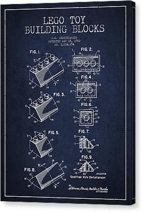 Lego Toy Building Blocks Patent - Navy Blue Canvas Print