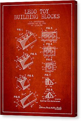 Lego Toy Building Blocks Patent - Red Canvas Print by Aged Pixel