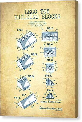 Lego Toy Building Blocks Patent - Vintage Paper Canvas Print by Aged Pixel